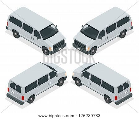 Commercial van icons set isolated on a white background. Flat 3d isometric illustration. For infographics and design.