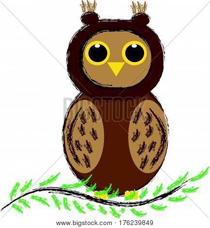 Owl sitting on branch on white background. Vector illustration.