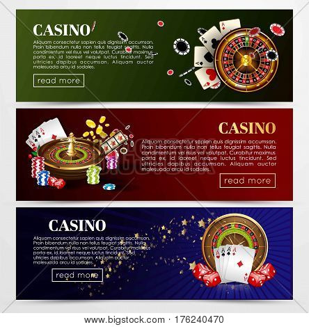 Casino poker web banners templates. Design of gambling dice, roulette game chips and playing cards aces, golden horseshoe symbol. Vector set of gold royal crown and jackpot lucky numbers