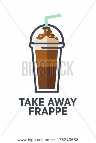 Coffee for takeaway logo template. Vector cold frappe drink cup with ice. Vector isolated flat icon for fast food cafe, cafeteria or coffeehouse design element