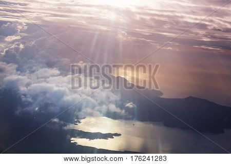 Beautiful view above clouds from the aircraft