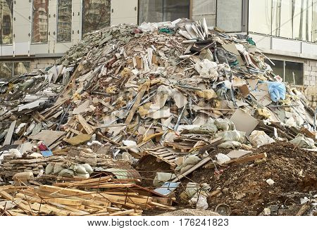 Enormous pile of a rubbish on the construction site