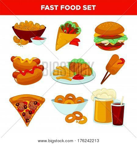 Fast food flat icons set. Fried potatoes, doner kebab, hamburger or cheeseburger, hot dog, chicken wings and onion rings, pizza and ice cream dessert, beer and soda drink. Vector fastfood menu design