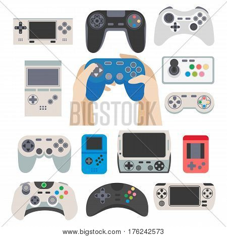 Gamer gamepad vector flat icons set. Gaming controllers and joysticks for video game on computers and smartphones applications