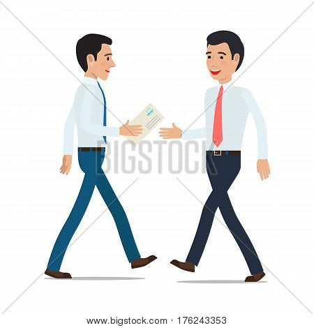 Businessmen handing correspondence. Two clerks in shirt and tie gives post envelope from hand to hand on move flat vector isolated on white background. Mail delivery illustration for business concept