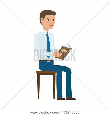 Businessman checks schedule in diary. Man in shirt and tie seating on chair and reading book flat vector isolated on white. Office workers self-education illustration for business concepts design