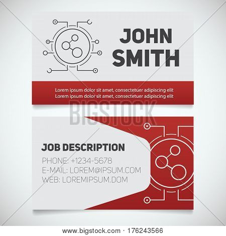 Business card print template with connection logo. Easy edit. Lan admin. Network manager. Stationery design concept. Vector illustration