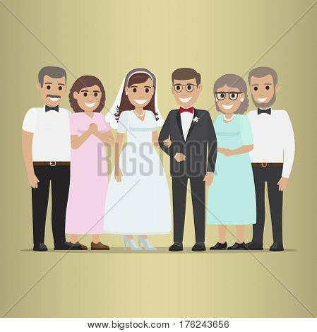 Newly married couple with parents-in-law. Smiling bride and fiance standing with their parents flat vector on gradient background. Happy family on wedding ceremony illustration for invitations design