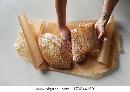 Fresh bread on baking paper