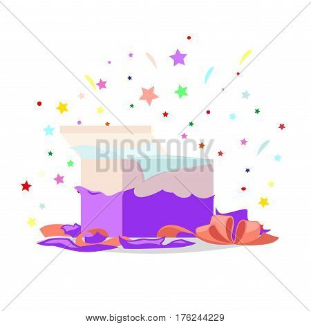 Open purple gift box with bow and stars that pop-up out of it on white. Salute fireworks elements behind the box with surprise. Celebrate holidays and exchange gifts isolated vector illustration.