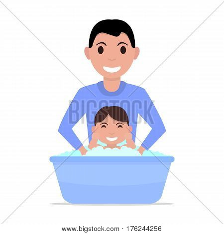 Vector illustration of a cartoon father bathes a baby. Isolated white background. Flat style. A man washes a child boy. Kid takes a bath.