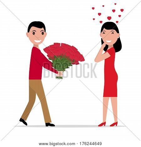 Vector illustration of a cartoon man gives flowers to a woman. Isolated white background. Flat style. Boyfriend gives a bouquet of flowers to a girlfriend in love.