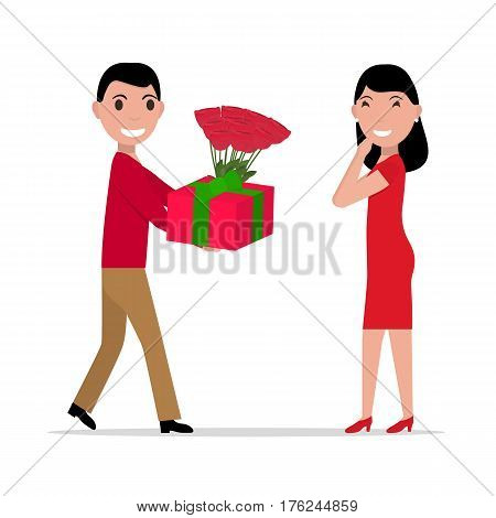 Vector illustration of a cartoon man gives gift and flowers to a woman. Isolated white background. Flat style. Boyfriend gives a bouquet of flowers and present box to a girlfriend in love.