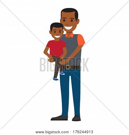Cheerful man holding little boy isolated on white. Man dressed in gray shirt with orange sleeves, collar and blue jeans, boy dressed in red shirt and gray pants. Family concept vector illustration.