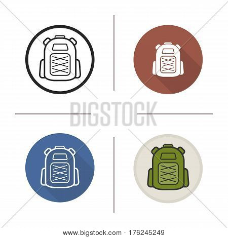 Backpack icon. Flat design, linear and color styles. Tourist's rucksack. Schoolbag. Isolated vector illustrations