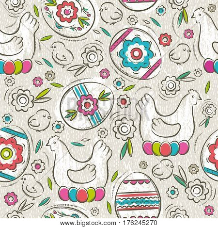 Seamless pattern with color easter eggs flowers hen and chicks. Ideal for printing onto fabric and paper or scrap booking vector illustration