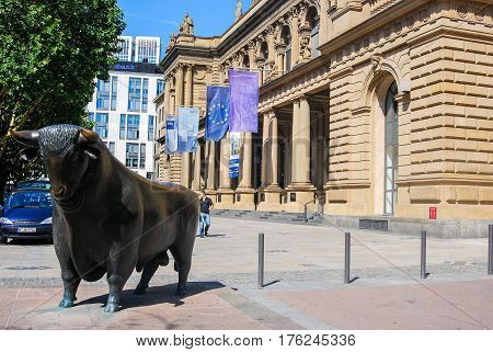 Frankfurt ,Germany-August 82009: the bronze figure of a bull stands in front of the Frankfurt Stock Exchange in FrankfurtGermany