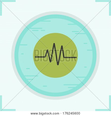 Cardiogram color icon. Heart monitor. Ecg. Isolated vector illustration