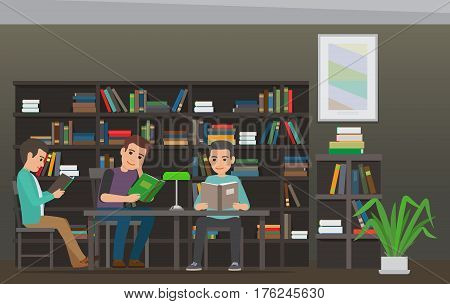 People reading textbooks in library. Male students seating with open books in hand in interior with bookshelves flat vector. Enthusiastic men readers illustration for educational and hobby concepts