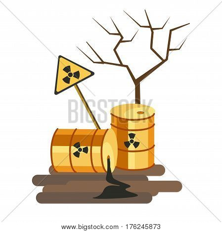 Environmental pollution problem and nature environment or ecology industrial harm. Air and earth pollute with chemical or toxic waste. Eco concept vector flat illustration