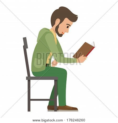 Boy reads book that holds in one hand on white. Side view of exiting process of learning by young male person. Vector illustration in flat style of boy spending spare time by reading literature