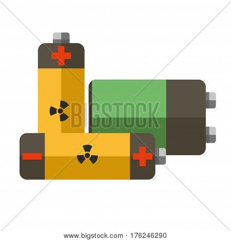 Environmental pollution problem and nature environment or ecology industrial harm. Earth global pollute with inorganic and electronic chemical waste utilization. Eco concept vector flat illustration