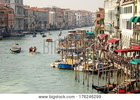 Venice,Italy-March 162012: Rush hour traffic in Venice early in the morning as boat traffic fills the canal Grande in Venice Italy