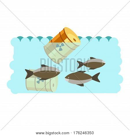 Environmental pollution problem and nature environment or ecology industrial harm. Sea or ocean water global pollute with oil and chemical toxic waste. Eco concept vector flat illustration
