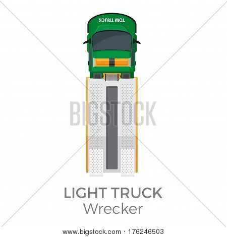 Wrecker light truck top view icon. Tow truck with ramp and winch flat vector isolated on white background. Vehicle of technical support illustration for urban transport concepts and infographics