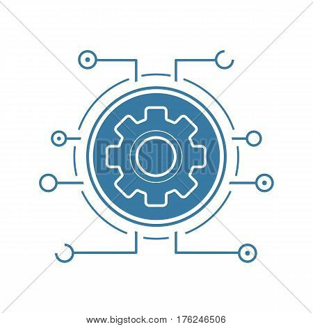 Settings flat linear long shadow icon. Cogwheel in microchip pathways. Cyber technology. Vector line symbol