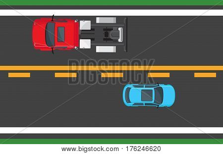 Blue hatchback and red auto driving on highway with one solid yellow line and one dotted line. Vector traffic illustration in flat style of top view of transports moving in opposite directions.