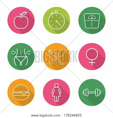 Sport and dieting flat linear long shadow icons set. Healthy lifestyle. Fitness. Apple nutrition, stopwatch, scales, weight loss, eatery and female signs, fastfood, gym barbell. Vector line symbols