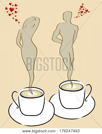 Coffee lovers, couple of human figures of smoke coming out of coffee cups
