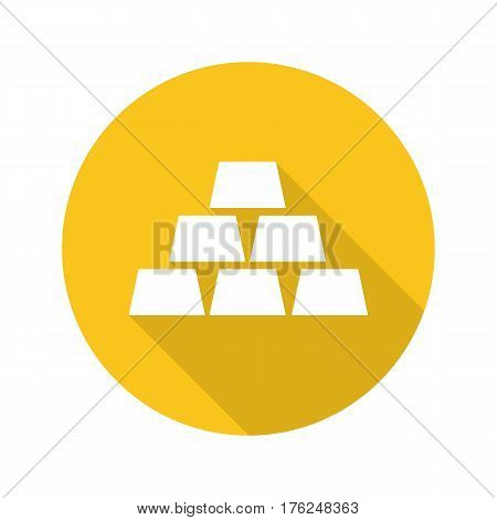 Gold bars flat design long shadow icon. Bullions. Bank gold brick. Vector silhouette symbol