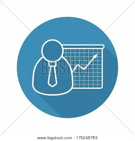 Business presentation with graph. Flat linear long shadow icon. Office worker with growth chart. Vector line symbol