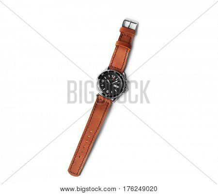 Stylish watch with leather wristlet on white background