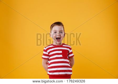 Portrait of a surprised cute little kid standing with mouth open and looking at camera isolated on the orange background
