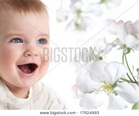 little child baby smiling closeup portrait on white background