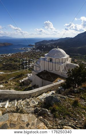 View of the harbor and Livadi village from Chora, Serifos island in Greece.