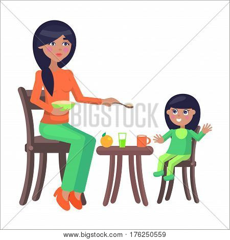 Young brunette mother sits on chair and feeds her daughter with porridge and her little daughter eats it. Illustration of motherhood. Cartoon family. Vector illustration for Happy Mother Day.