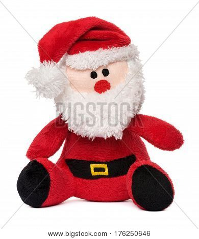 Little Santa Claus plush toy isolated on white background