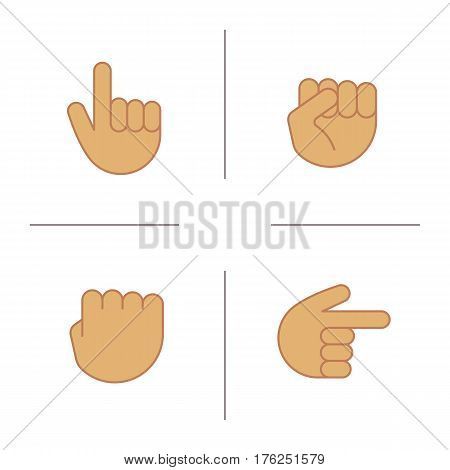 Hand gestures color icons set. Squeezed and raised fists, hands pointing right and up. Isolated vector illustrations