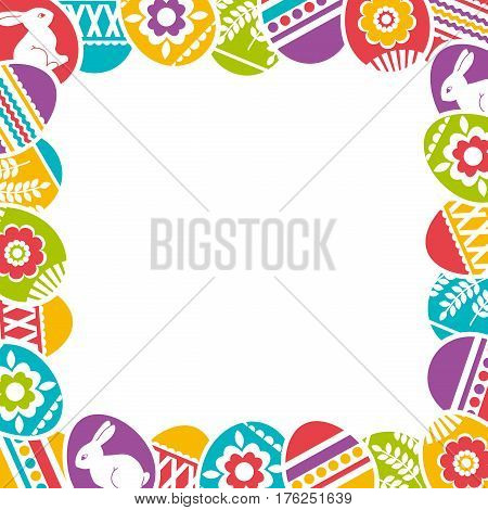 Seamless frame with color easter eggs flowers and rabbit. Ideal for printing onto fabric and paper or scrap booking vector illustration