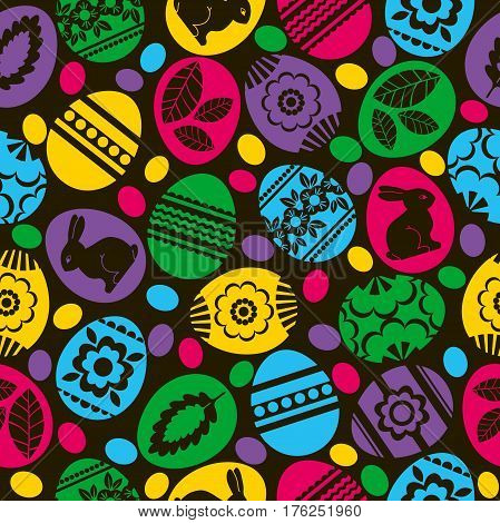 Seamless black pattern with color easter eggs flowers and rabbit. Ideal for printing onto fabric and paper or scrap booking vector illustration