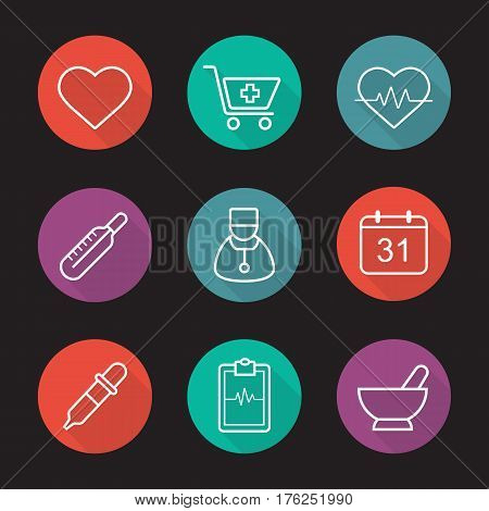 Medical flat linear long shadow icons set. Heart shape, drugstore cart, ecg, thermometer, doctor, calendar, dropper, clipboard cardiogram, mortar and pestle. Vector line illustration