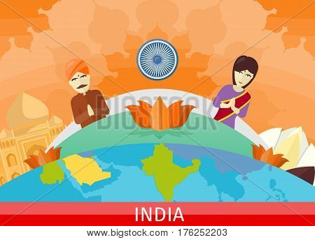 India tourism poster design with attractions on the background of the globe. Time to travel. Taj Mahal and lotus sign. India travel poster design in flat. Travel composition with famous landmarks.