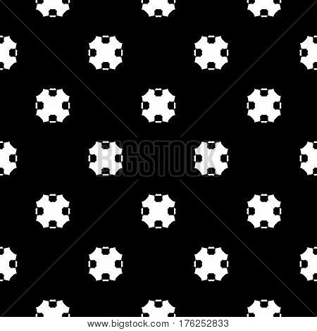 Vector monochrome seamless pattern, simple dark geometric texture with octagonal shapes, black & white abstract geometrical background. Repeat tiles. Design for textile, prints, decor, fabric, digital, cloth