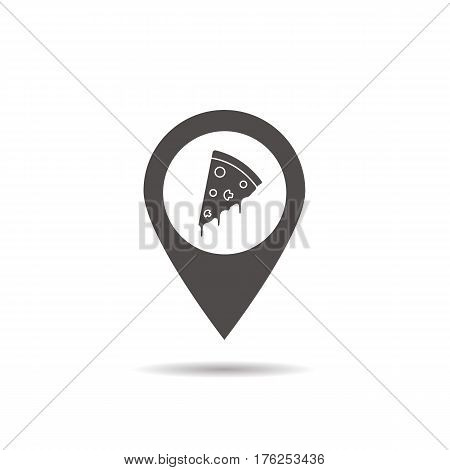 Pizzeria location icon. Drop shadow map pointer silhouette symbol. Pizza cafe and restaurant pinpoint. Vector isolated illustration