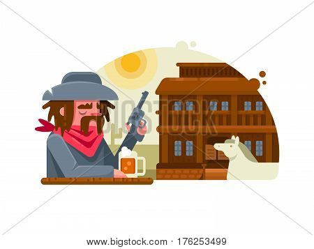 Wild west. Cowboy with revolver drinks beer in pub. Vector illustration