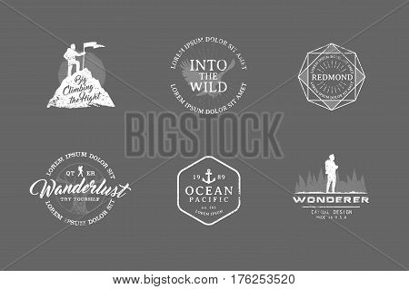 Set of premium labels on the themes of wildlife, nature, hunting, travel, wild nature, climbing, camping, life in the mountains, survival Retro, vintage, casual design